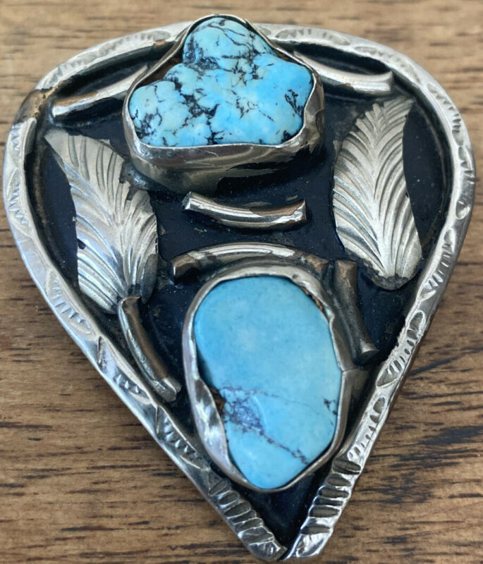 """Vintage Bolo Tie with Turquoise silver plate approx 2"""" x 1 3/4"""""""