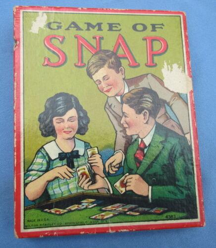 Vintage Game of Snap card game Milton Bradley 1905 complete sharp color