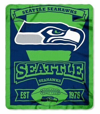 NFL Marquee Logo Lightweight Fleece Seattle Seahawks Blanket -