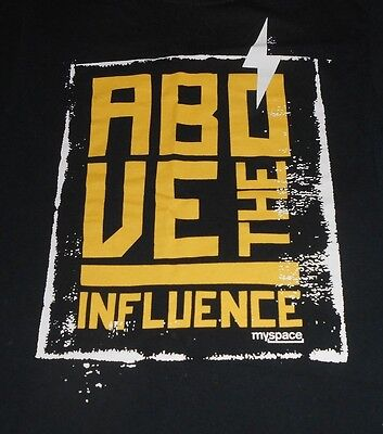 Fruit Of The Loom  Above The Influence   Myspace  Black T Shirt   Size Small Vg