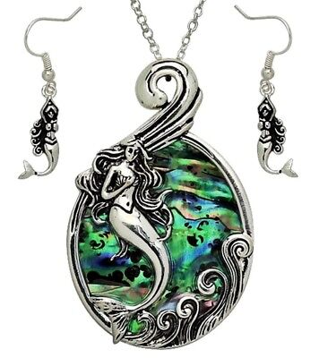 Gorgeous Mermaid Pendant Necklace and Earrings Set Abalone Shell Fast (Shell Necklace And Earrings)