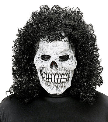 Slash Skull Mask & Black Wig Hair 70s 80s Mens Halloween Latex Fancy Dress NEW](70's Halloween Masks)