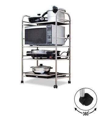 Küchenwagen 4-Etagen Servierwagen Abräumwagen Badrollwagen Küchenregal Rollwagen
