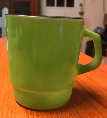 Vintage Fire King Green Mug Wirh Black Trim