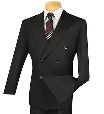 Mens Solid Black Suit - Vinci Men's Black Double Breasted 6 Button Classic Fit Suit NEW