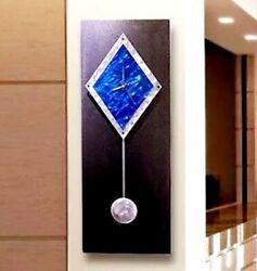 Metal Wall Clock Pendulum Art Modern Black Electric Blue  Signed Art Jon Allen