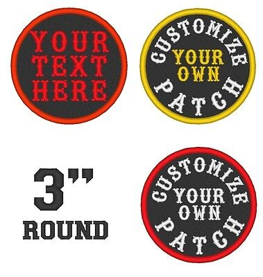 "Custom Embroidered 3"" Round Name Patch Biker Rocker Sew on Badge Patches"