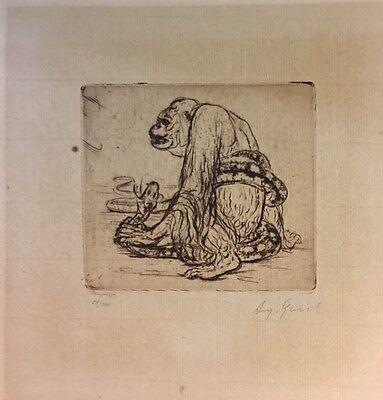 Gaul August 1869-1921, Gorilla u. Schlange ,Radierung