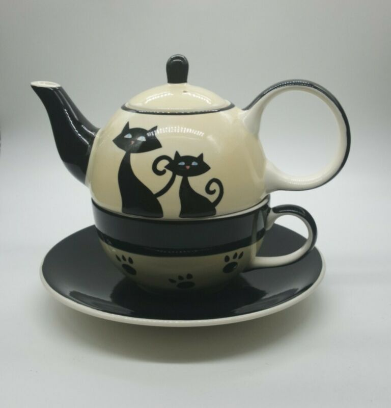 HuesNBrews Siamese Cat Cream and Black Teapot, Mug and Saucer
