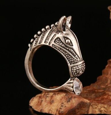 Chinese Silver Horse - Precious Chinese 925 Silver Hand Carved Horse Statue Ring Stylish Jewelry Gift