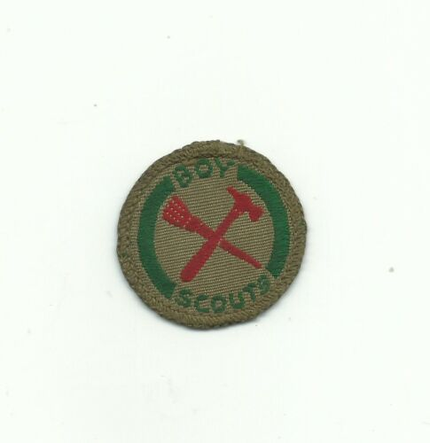 BJ SCOUT CANADA HANDYMAN PROFICIENCY BADGE EARLY ISSUE BROWN BACK INSIGNIA PATCH