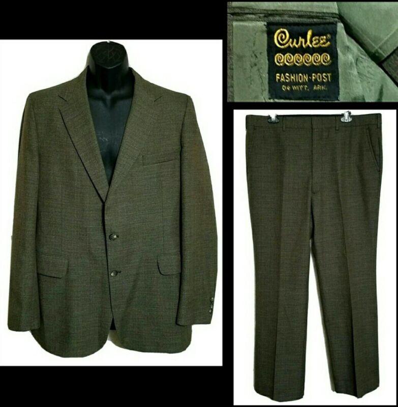 "VTG 1980s Curlee Mens Chestnut Brown 2 Pc Wool Suit Jacket 44 R Pants 38"" X 31"""