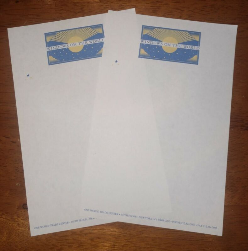 Lot Of 2 Pre 9/11 World Trade Center Windows On The World Stationary Paper