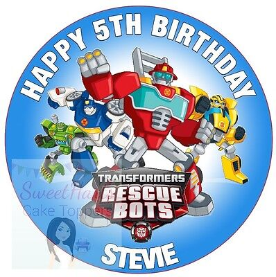 TRANSFORMERS RESCUE BOTS CAKE TOPPER ROUND DECORATION PERSONALISED EDIBLE ICING](Rescue Bots Party Decorations)