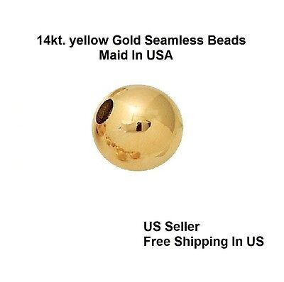14 kt. Solid Gold 3 MM Round Seamless  Beads / See Variation For Qty. Discount (Discount Beads)