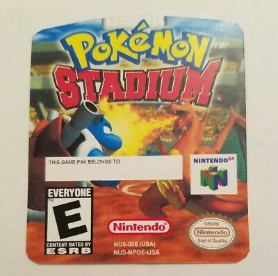 Pokemon Stadium Nintendo 64 Replacement Label Sticker Precut  comprar usado  Enviando para Brazil