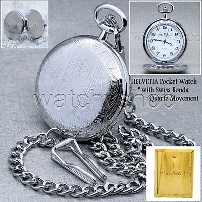 HELVETIA Silver Antique Men Pocket Watch Swiss Ronda Movement Chain Wood Box P69
