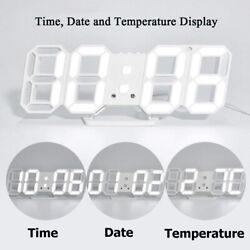 Digital 3D LED Wall/Desk Clock Snooze Alarm Big Digits Auto Brightness USB White