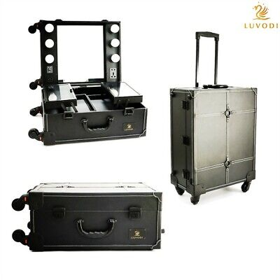 Studio Kosmetik Makeup Case Koffer Artist Salon Travel Rolling Light Trolley DE