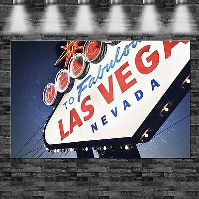 Las Vegas Stadtschild Stone auf Leinwand Keilrahmen Amerika Casino