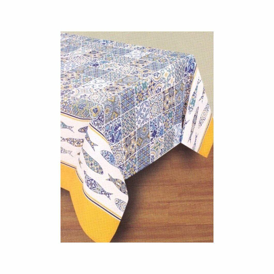 "MOROCCAN TILE CIRCLES dark blue GR Thin Peva Vinyl Tablecloth 60/"" Round"