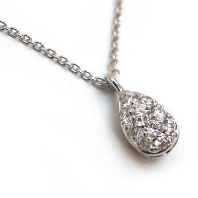 """New Roberto Coin 18K White Gold Pear Shaped Diamond Pendant 18"""" Necklace"""
