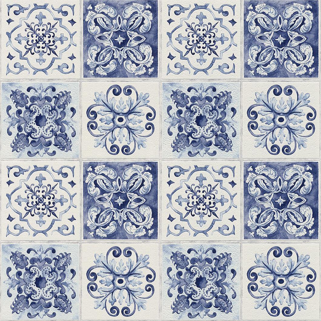 Tapete Fliesen Optik Kacheln blau weiß abwaschbar Landhaus Vinyl Rasch