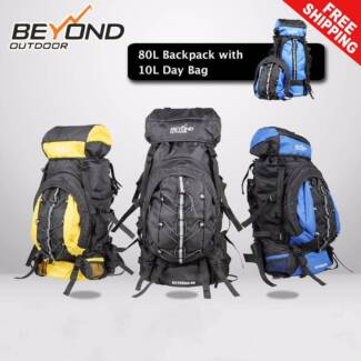 80L Backpack with day bag Camping Hiking Travel RUCKSACK RAIN COV