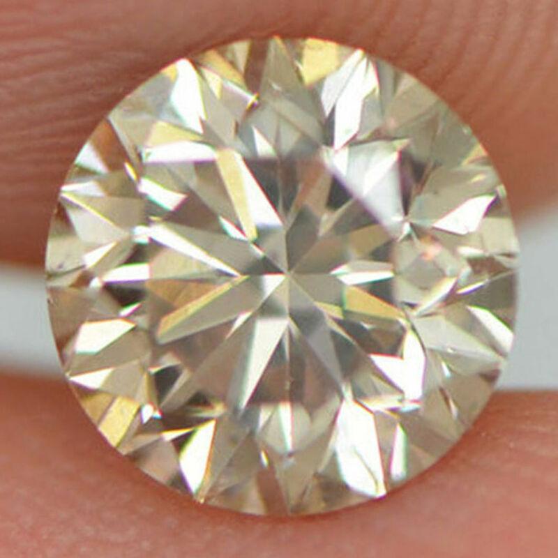 Round Champagne Diamond Natural Loose Vs2 Enhanced Certifiy 1.20 Ct 6.76x6.56 Mm