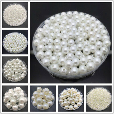 4-20mm White Ivory Imitation Pearls Round Pearl Spacer Loose Bead Jewelry - Ivory Pearls