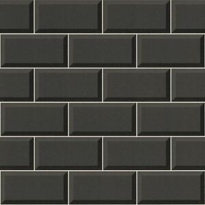 Black Tile Wallpaper 3D Effect Bathroom Kitchen Washable Feature Vinyl Rasch
