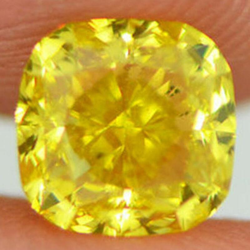Loose Yellow Diamond Fancy Color Cushion Shaped Natural Enhanced One Carat Vs2