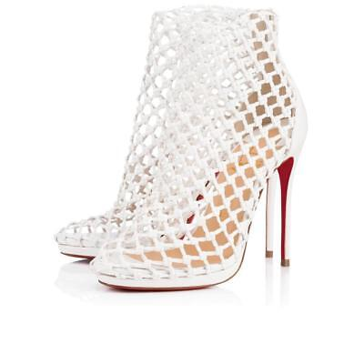 NB Christian Louboutin Porligat 120 White Latte Caged Boot Bootie Heel Pump 36.5