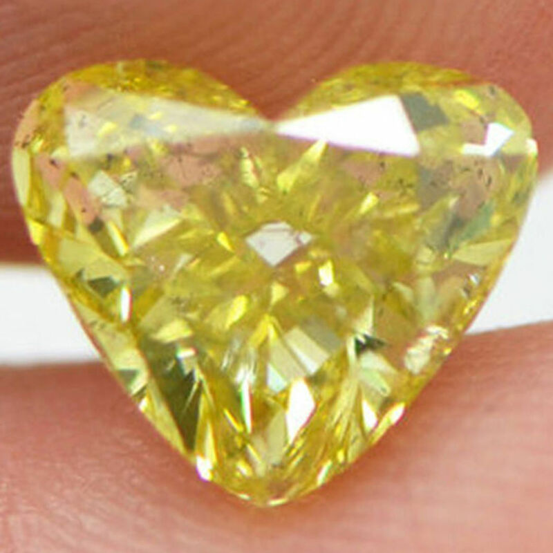 Loose Heart Shaped Diamond Fancy Yellow Color 2 Carat Si2 Natural Enhanced Real