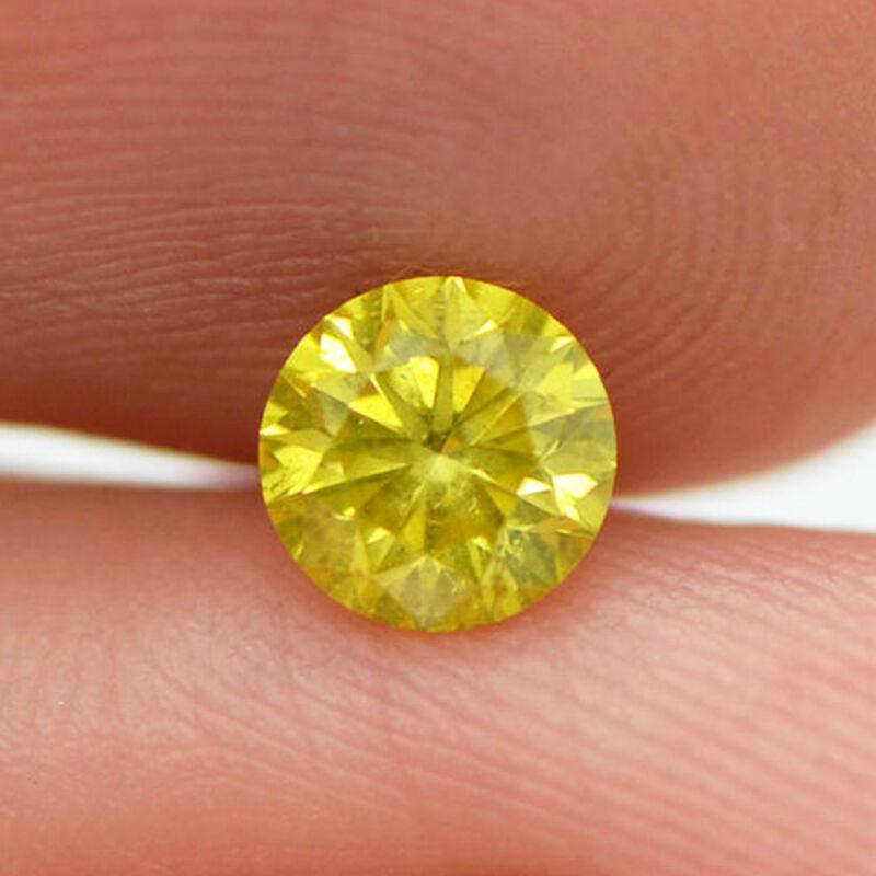 Loose Yellow Diamond Round Shape 0.61 Carat Si2 Enhanced Natural 5.33x5.27 Mm