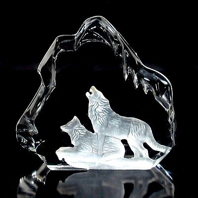 Vintage French Engraved Frosted Glass / Crystal Paperweight, Wolf, Iceberg, Ice