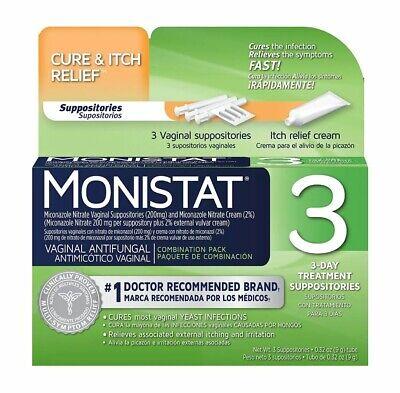 علاج مرض أنثوي Monistat لمدة 3 أيام | التحاميل + تخفيف الحكة