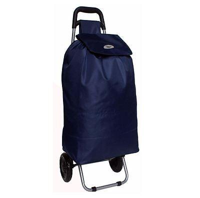 Large Capacity Wheeled Shopping Trolley Light Weight Folding Push Cart Bag Navy