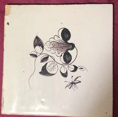 Dutch Tile (18th Century Dutch Delft Maganese Tile  Classic Floral Early Tile )