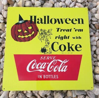 Halloween Coke Coca Cola advertisement metal Repro Sign 12x12 JOL Pumpkin 50164](Coca Cola Halloween Advertising)