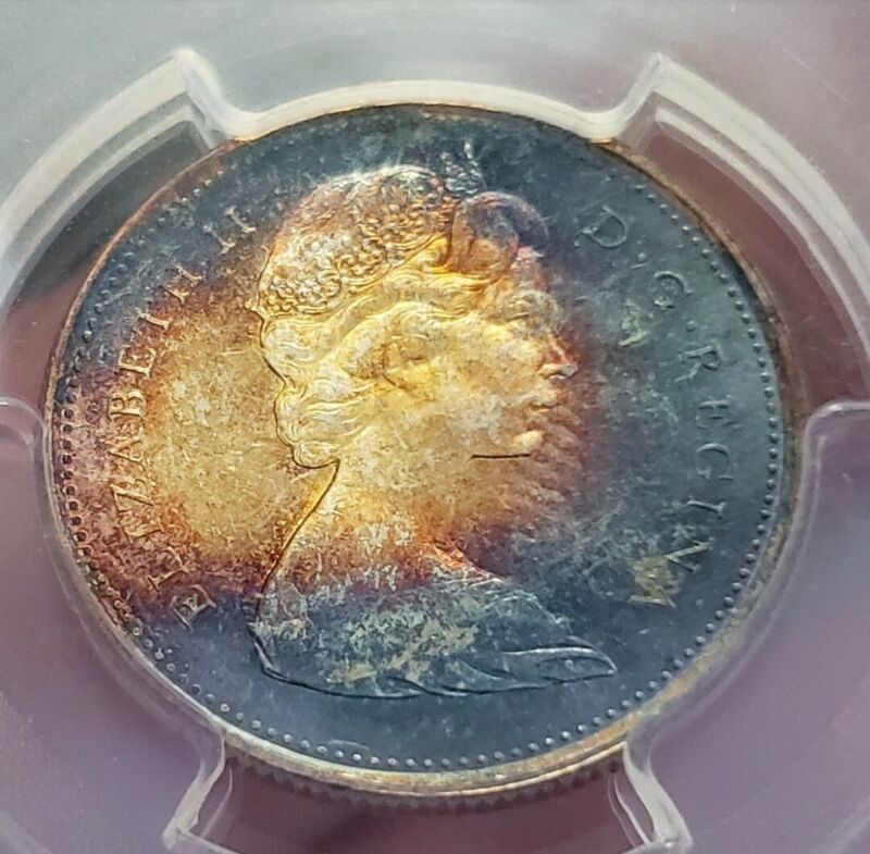 Toned Silver 1967 Canada 25 Cents Quarter | PCGS MS65