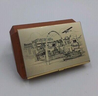 Monsanto St. Louis Business Card Holder Case Brass Wood Stl Motif Rare Vintage