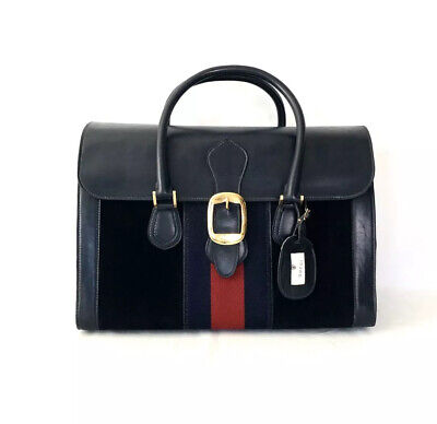Gucci Vintage Web Suede Doctor Travel Bag