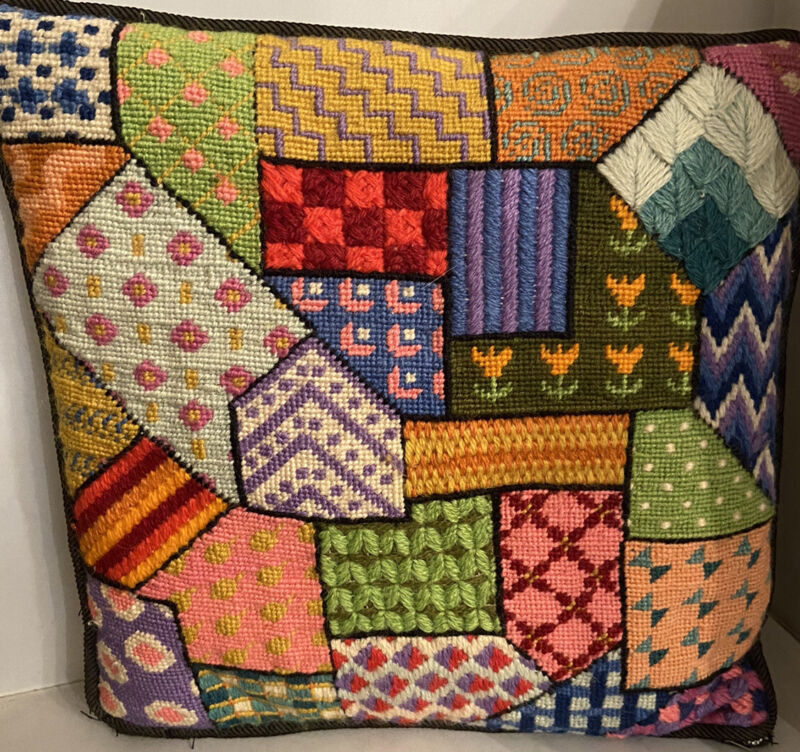 Vintage Patchwork Needlepoint Pillow 12""