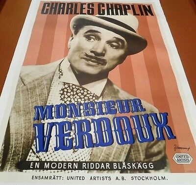 CHARLIE CHAPLIN Vintage 1947 Film MONSIEUR VERDOUX Swedish Litho  MOVIE POSTER