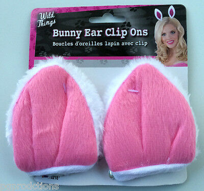 PLUSH PINK BUNNY RABBIT EARS CLIP ONS Adult Easter Costume Animal Fake White Fur - Adult Pink Bunny Costume