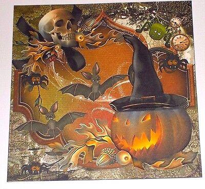 Handmade Greeting Card 3D Halloween With A Pumpkin, Bats, And Skull W/Sentiment