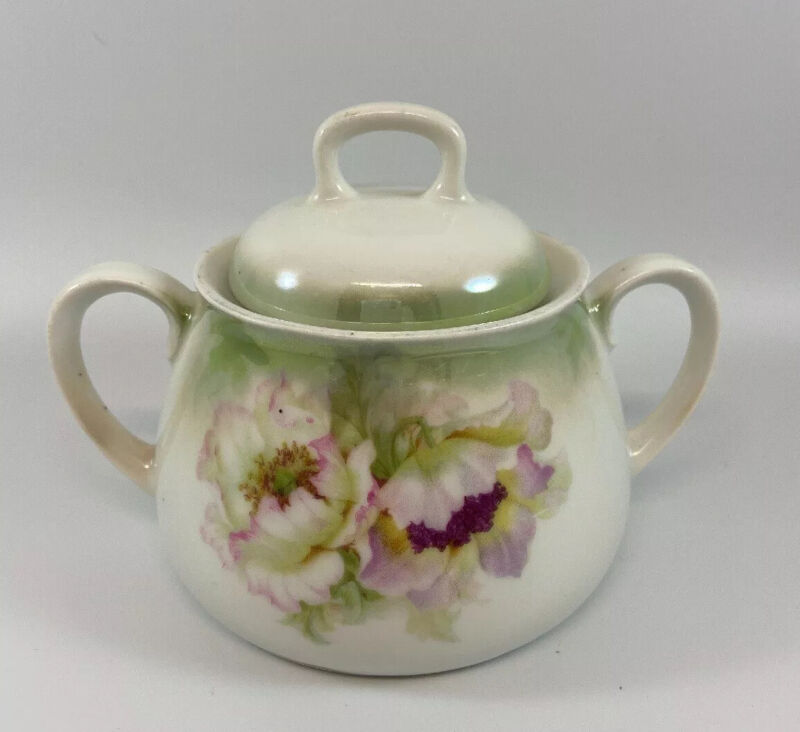 Antique PV Vessra Germany Hand Painted Sugar Bowl With Lid Floral Pink