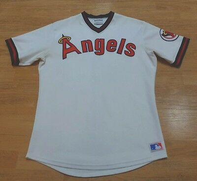 (1980's CALIFORNIA ANGELS SAND KNIT AUTHENTIC PRO CUT JERSEY LOS ANGELES ANAHEIM)