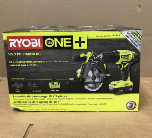 New  RYOBI P1816 18-Volt ONE+ Lithium-Ion Cordless 2-Tool St